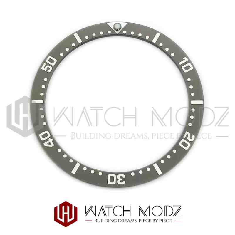 Flat Ceramic Bezel Insert: Gray With White Numbers SKX007 Style