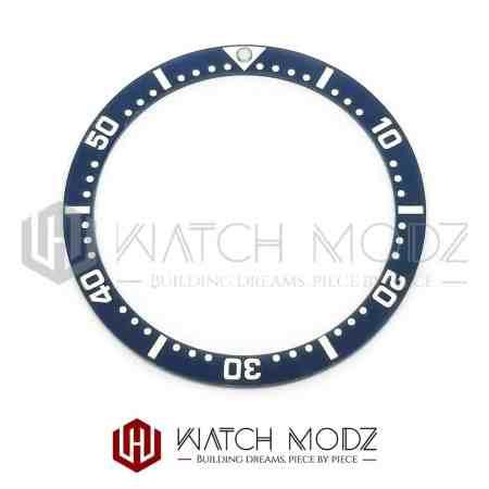 Flat Ceramic Bezel Insert: Aegean Blue White Numbers SKX007 Style