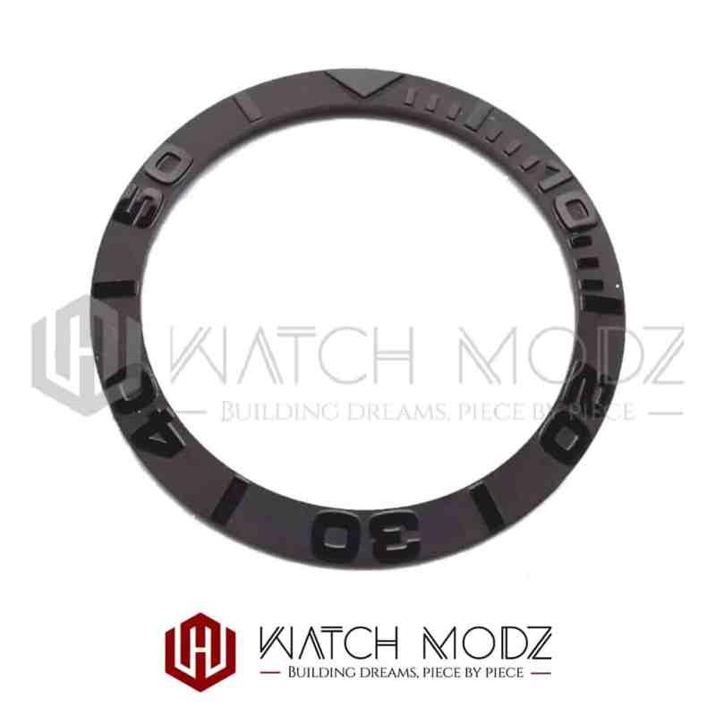 Sloped Ceramic Bezel Insert: Black YM Style 3D Numbers