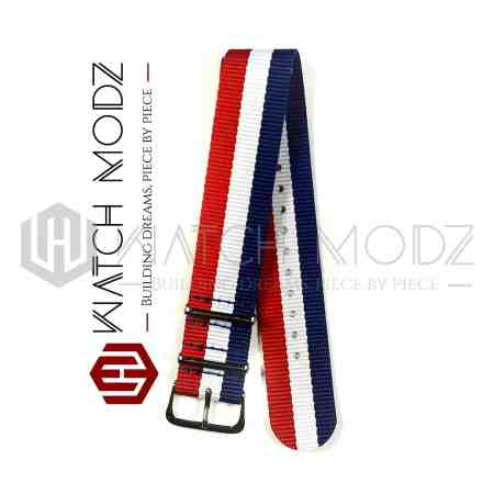 22mm Nato Strap Red, White, & Blue side view