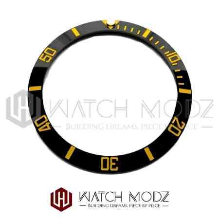 Sloped Ceramic Bezel Insert: Black Sub Style Gold Numbers