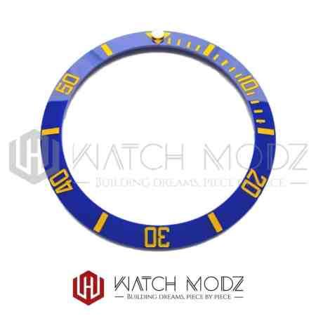 Sloped Ceramic Bezel Insert: Blue Sub Style Gold Numbers