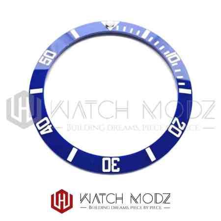 Sloped Ceramic Bezel Insert: Blue Sub Style White Numbers