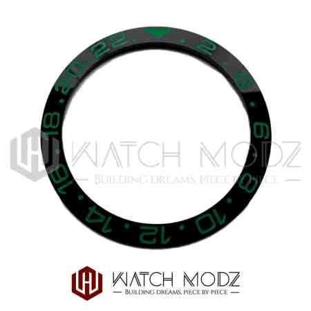 Sloped Ceramic Bezel Insert: Black GMT Style Green Numbers