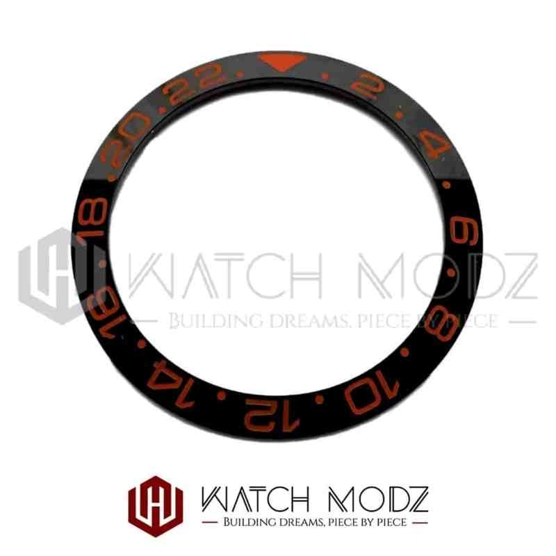 Sloped Ceramic Bezel Insert: Black GMT Style Sunset Orange Numbers
