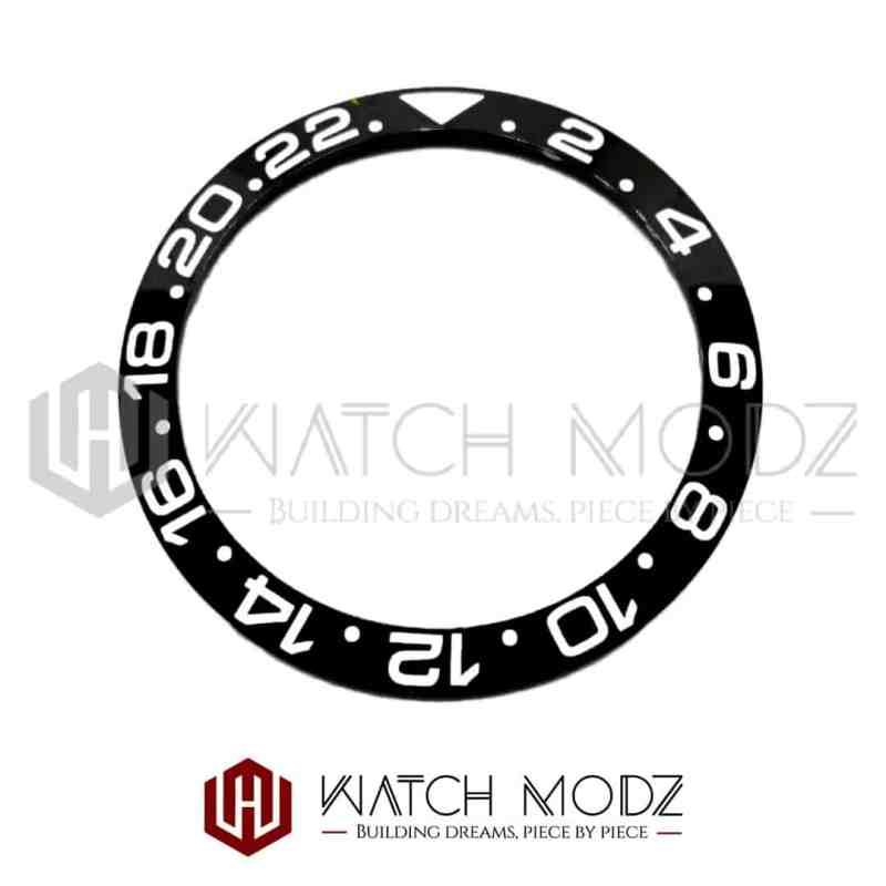 Sloped Ceramic Bezel Insert: Black GMT Style White Numbers