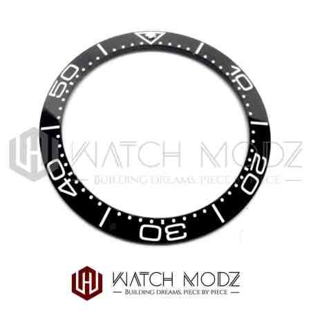 Sloped Ceramic Bezel Insert: Black SM Style White Numbers