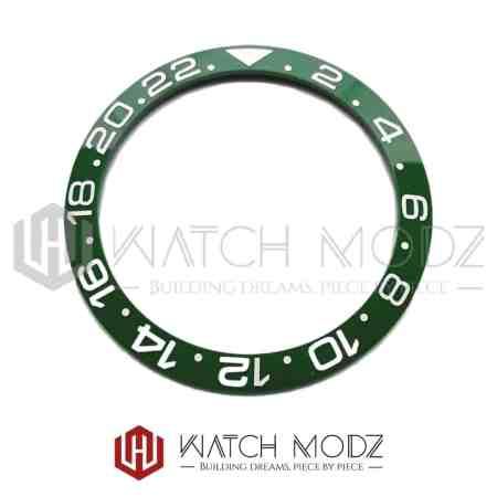Sloped Ceramic Bezel Insert: Green GMT Style White Numbers