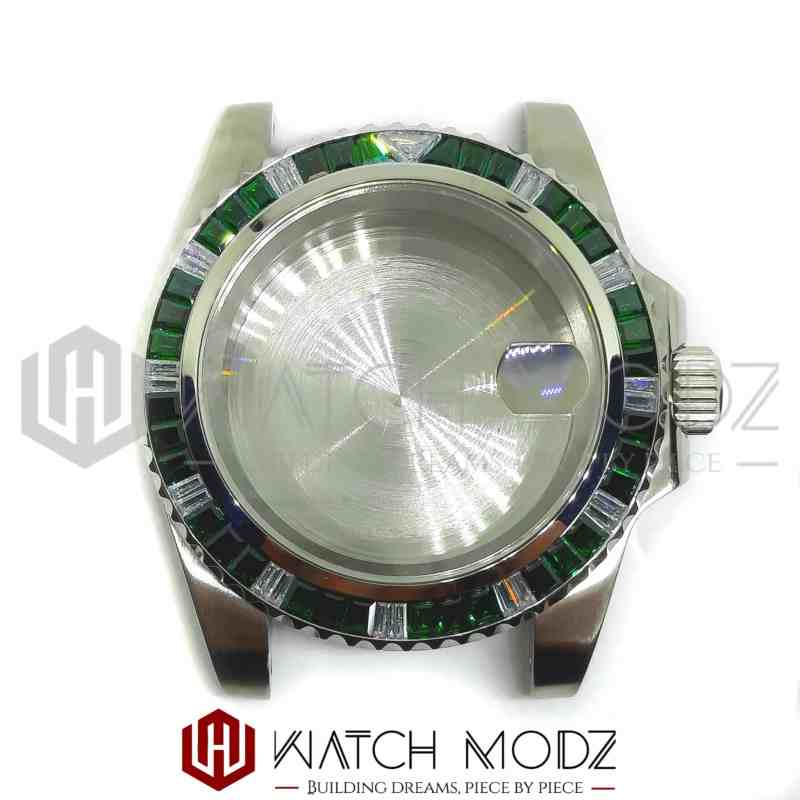 NH35 Gem Sub Case: Green Emerald front view