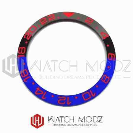38mm Sloped Ceramic Bezel Insert: Batman GMT Style Red Numbers for skx007