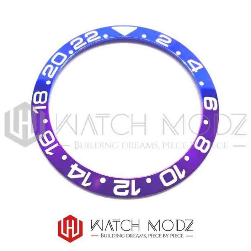 38mm Sloped Aluminum Bezel Insert: Purple/Blue GMT Style White Numbers for skx007