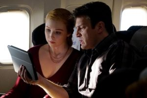 """CASTLE - """"In Plane Sight"""" - As Castle and Alexis travel to London, their routine flight turns deadly when the plane's Air Marshal is found murdered. With the help of Beckett on the ground, Castle and Alexis race against time to find the killer before he carries out his fateful plan, on """"Castle,"""" MONDAY, APRIL 27 (10:01-11:00 p.m., ET) on the ABC Television Network. (ABC/Richard Cartwright) MOLLY QUINN, NATHAN FILLION"""