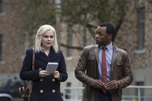 "iZombie -- ""Mr. Berserk "" -- Image Number: ZMB110B_0129 -- Pictured (L-R): Rose McIver as Olivia ""Liv"" Moore and Malcolm Goodwin as Clive Babineaux -- Photo: Cate Cameron /The CW -- © 2015 The CW Network, LLC. All rights reserved."