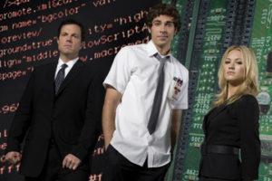 CHUCK -- Pictured: (l-r) Adam Baldwin as Major John Casey, Zachary Levi as Chuck Bartowski, Yvonne Strzechowski as Sarah Walker -- NBC Photo: Mitchell Haaseth