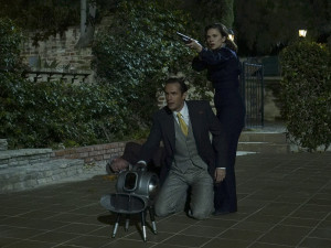 """MARVEL'S AGENT CARTER - """"Monsters"""" - As Peggy plots a rescue mission, Whitney hunts for even more dark power; and Jarvis learns he should not make promises he cannot keep, on """"Marvel's Agent Carter,"""" TUESDAY, FEBRUARY 16 (10:00-11:00 p.m. EST) on the ABC Television Network. (ABC/Byron Cohen) JAMES D'ARCY, HAYLEY ATWELL"""
