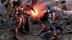 "Iron Man and Captain America face off in this double truck panel from the upcoming comic book release ""Marvel: CIvil War"" --- DATE TAKEN: rcd 04/06 No Byline Marvel Comics , Source: Jeffrey Klein: 212.981.5189 HO - handout ORG XMIT: ZX46848"