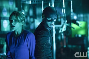 """The Flash -- """"Running to Stand Still"""" -- Image: FLA209A_0288b.jpg -- Pictured (L-R): Shantel VanSanten as Patty Spivot and Grant Gustin as The Flash -- Photo: Cate Cameron/The CW -- © 2015 The CW Network, LLC. All rights reserved."""