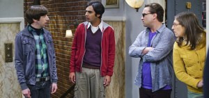 """The Viewing Party Combustion"" --Everyone must choose sides when a small argument between Leonard (Johnny Galecki, right) and Sheldon erupts into a heated fight during a group get-together, on THE BIG BANG THEORY, Thursday, April 21 (8:00-8:31 PM, ET/PT) on the CBS Television Network. Also pictured: Simon Helberg (left), Kunal Nayyar (center) and Mayim Bialik (right) Photo: Monty Brinton/CBS ©2016 CBS Broadcasting, Inc. All Rights Reserved"