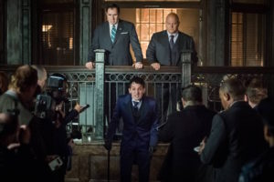 "GOTHAM: L-R: Guest star Richard Kind, Robin Lord Taylor and Michael Chiklis in the ""Mad City: Better to Reign in Hell…"" season premiere episode of GOTHAM airing airing Monday, Sept. 19 (8:00-9:01 PM ET/PT) on FOX. ©2015 Fox Broadcasting Co. Cr: Jeff Neumann/FOX."
