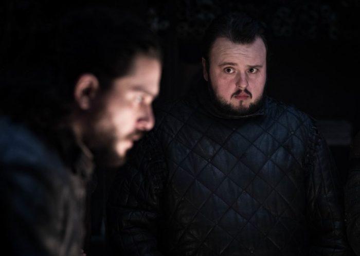Kit Harington (left) as Jon Snow and John Bradley as Samwell Tarly. Photo: Helen Sloan / HBO