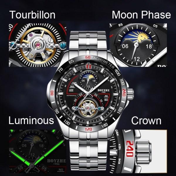 Mechanical Sport Watches Tourbillon Moon