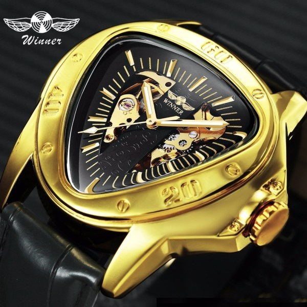 Men Watch Triangle Skeleton Wristwatch