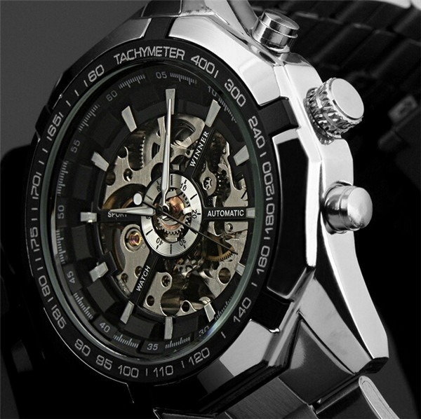 Skeleton Mechanical Watch Fashion Cross Wristwatch