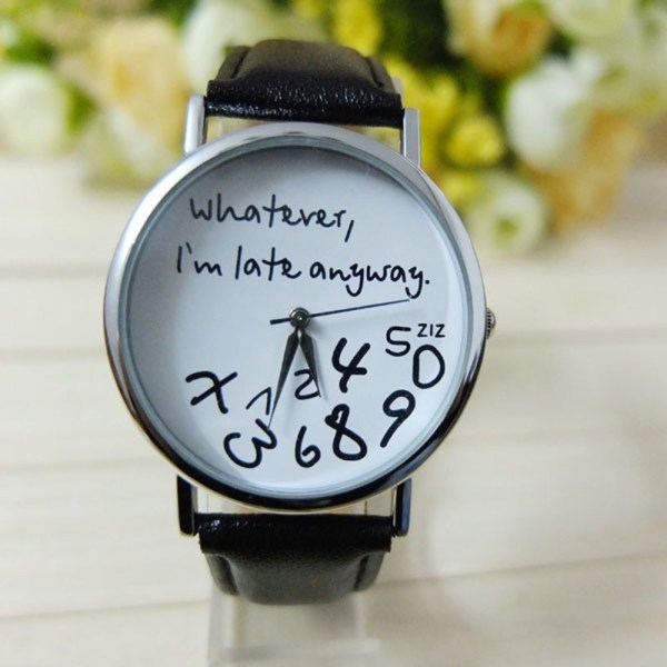 Letter Pattern Leather Women Watches
