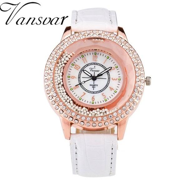 Rhinestone Watch Leather Strap Quartz Watch