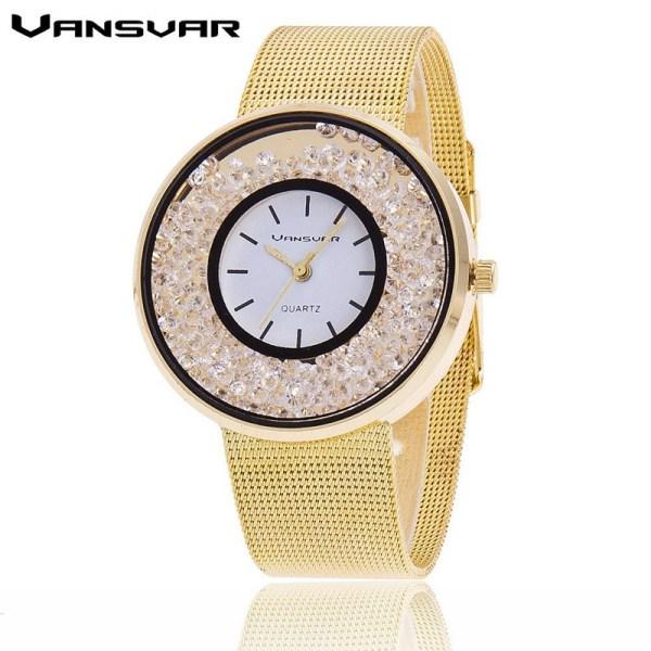 Stainless Steel Luxury Women Rhinestone Watches