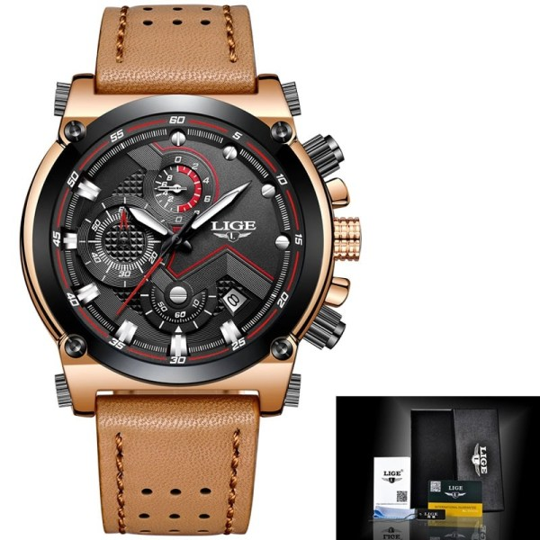 Men Watches Leather Sport Quartz Watch