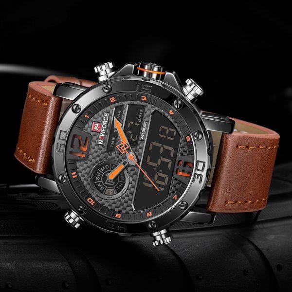 Men Watches Leather Sports Watch Digital Clock
