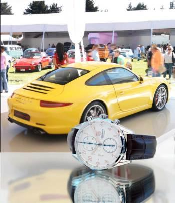 Carrera Calibre 16 Heritage Chronograph (rose gold) Movimiento: automático Frecuencia: 28,800 a/h Funciones: horas, minutos, segundos; fechador y cronógrafo Caja: 41 mm de acero / Porsche 911 Carrera S Motor V6 de 400 CV / 440 Nm Velocidad máxima: 304 km/h Aceleración: 0 – 100 km/h: 4.5 y 4.3 (Doppelkupplung PDK) seg