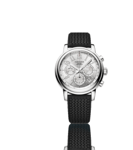 Esta versión del Mille Miglia Chronograph en acero inoxidable igualmente encontró su inspiración en los autos clásicos.