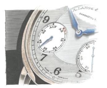 1815 Up/Down // El nuevo modelo presenta una carátula independiente a las 8 h que indica la cantidad de reserva de marcha disponible. Su geometría, sus agujas de acero azulado, los números arábigos y la escala de minutos en vías de ferrocarril, resaltan la estética de la pieza al tiempo que confieren un look parecido al de los relojes de bolsillo de Lange.