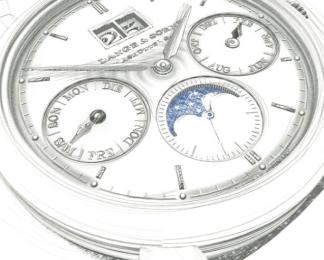 Saxonia Annual Calendar // Fue diseñada por el deseo de mejorar la legibilidad y la armonía a partir de las múltiples subcarátulas. Detalles que incluyen manecillas de lanceta típicas de la marca, fechador descentrado legible y carátula color rodio, que enfatiza la pureza, claridad y belleza de su aspecto.