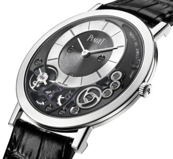 Piaget Altiplano 900P 3.65 mm de grosor para el reloj y movimiento que sustituye la platina por el fondo de la caja. Carga manual (1 patente).