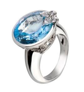 DA10542 020804 Maxi Twist ring in white gold, blue topaz and diamonds