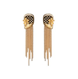 DA 13601 010101 - Sierpes medium earrings in yellow gold and diamonds