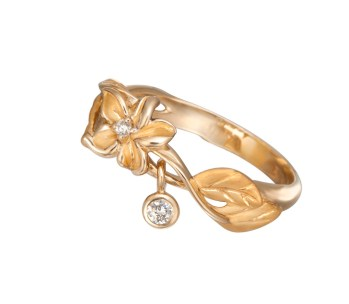 DA13457 010101 - Emperatriz mini ring in yellow gold and diamonds