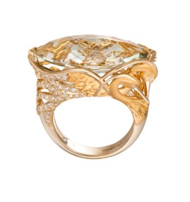 DA13550 010101- Garzas maxi ring in yellow gold, prasiolite and diamonds