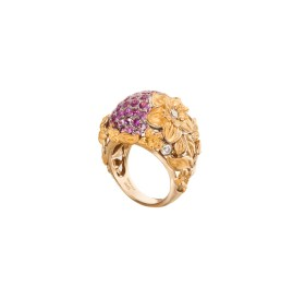 DA13650 03405 - Emperatriz Bouquet maxi ring in yellow gold and pink sapphires