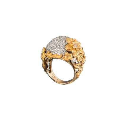 DA13656 030101 - Emperatriz Bouquet maxi ring in yellow and white gold with diamonds