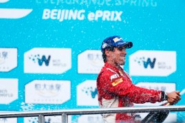 FIA Formula E - Podium Beijing E-Prix, China Saturday 13 September 2014. Photo: Sam Bloxham/LAT/ Formula E ref: Digital Image _SBL6334