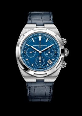 Overseas chrono blue 5500V/110A-B148bracelet cuirleather