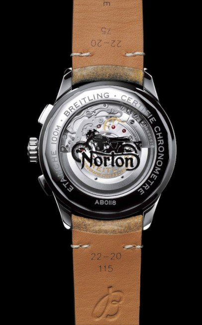 Caseback of the Premier B01 Chronograph 42 Norton Edition