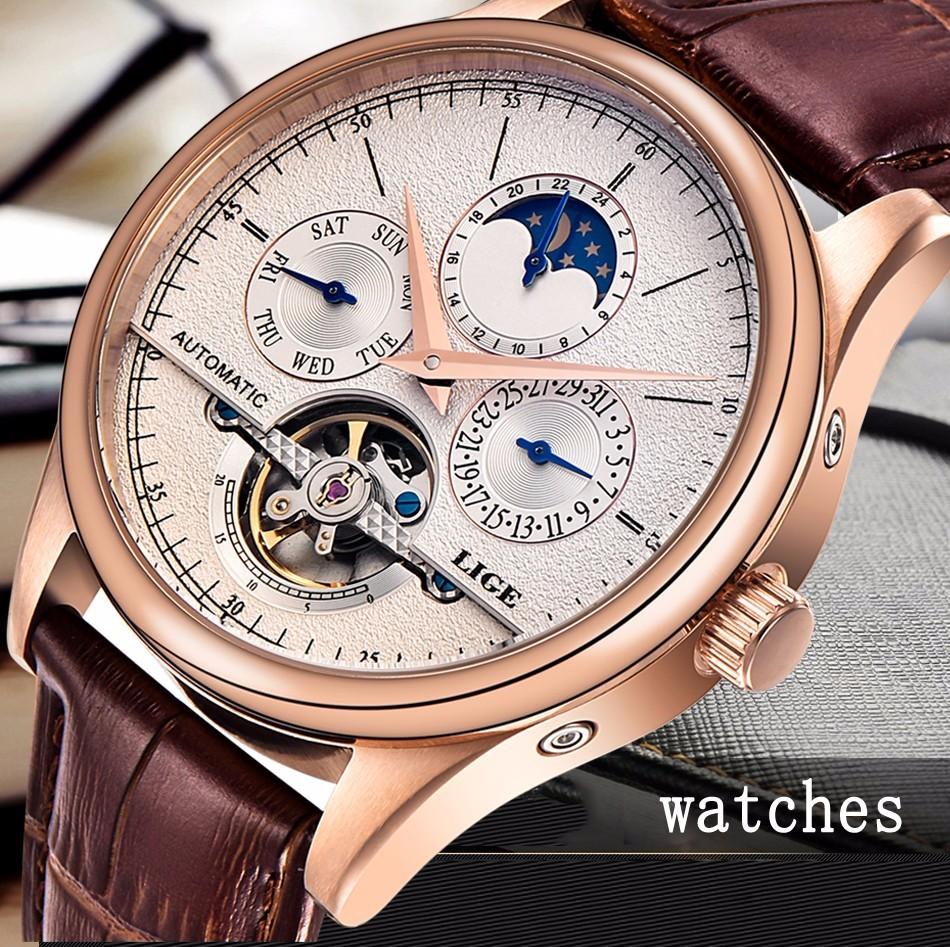 LIGE men automatic mechanical tourbillon watch - Watch Etc.