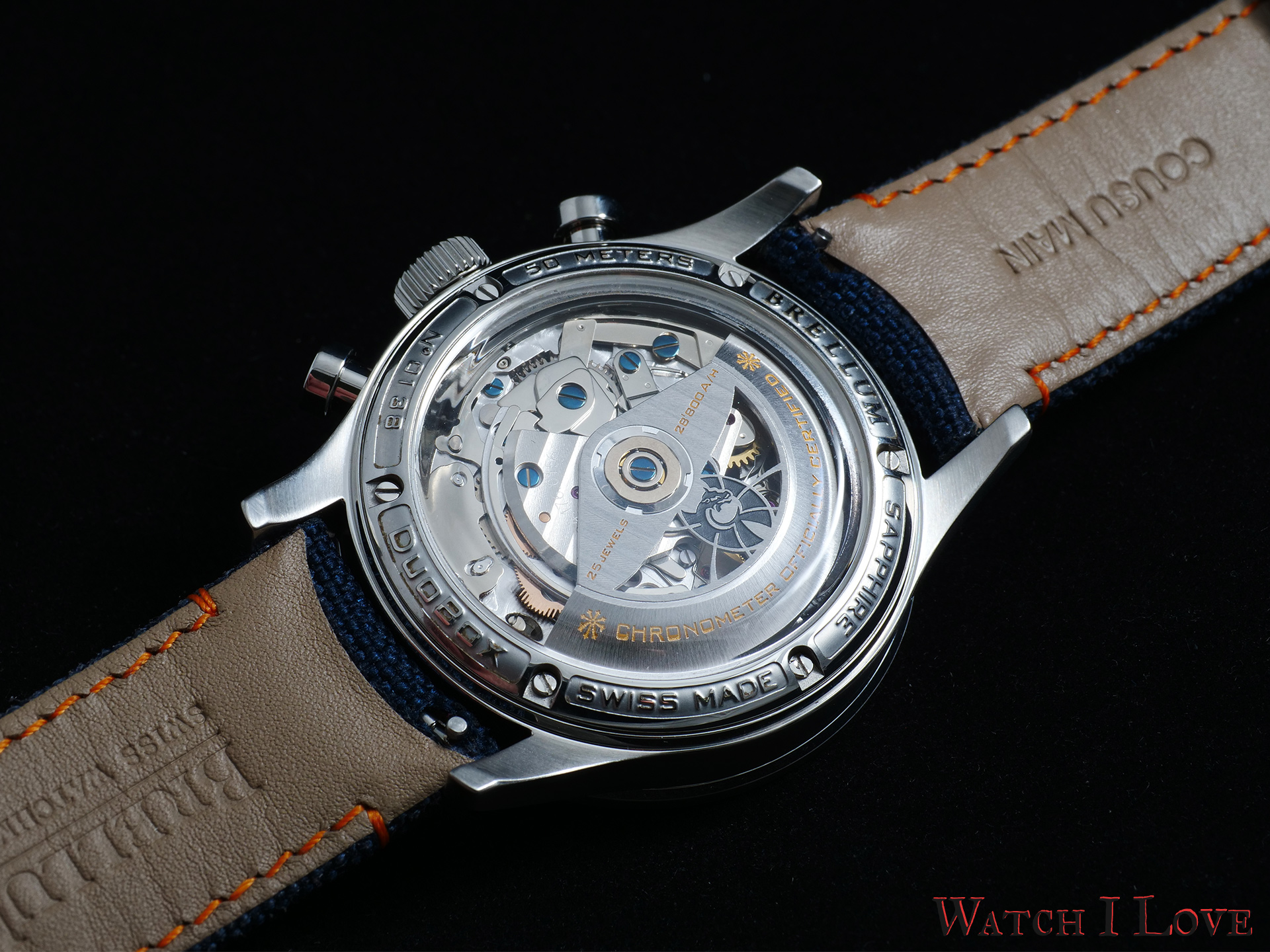 The back side of the Marina 2 reveals under a box type sapphire the calibre BRELLUM BR-750-1