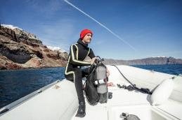 The image shows Pierre-Yves Cousteau, marine conservationist and founder of Cousteau Divers, with the first precision temperature sensors (Photo by Remy Steiner for IWC).