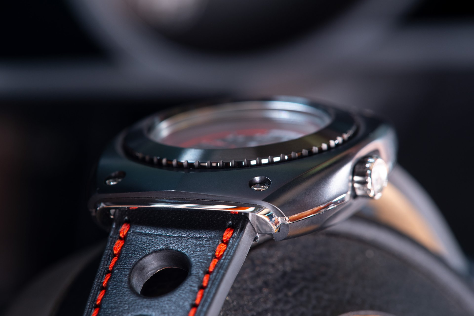 Blasta Watch Scuderia Veloce, nero profondo Photo taken on the steering wheel of a Alfa Romeo Montreal. ©2019 Blasta Watch Ltd. All Rights reserved.